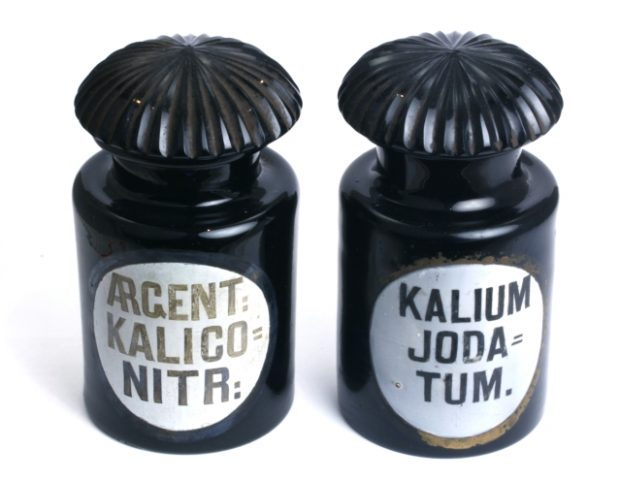 Antique Black Amethyst Apothecary Jars