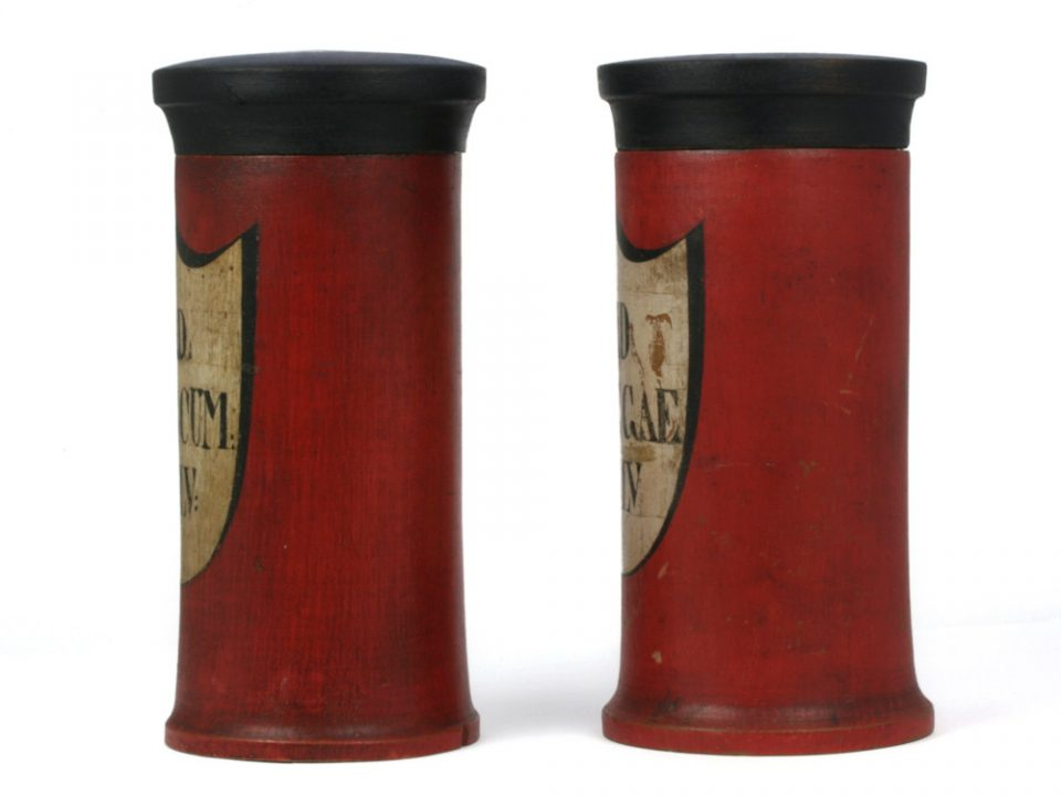 Antique German Apothecary Jars in Wood