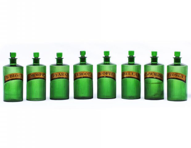 Green Ribbed Gilt Label Apothecary Jars