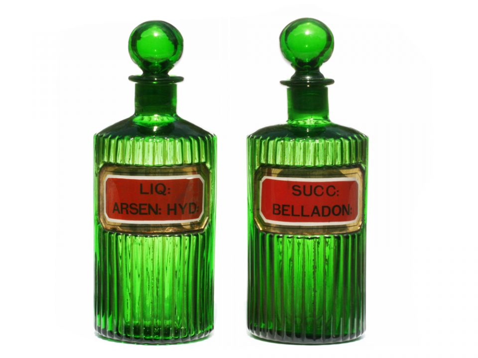 4 Green Ribbed Gold LUG Apothecary Bottles