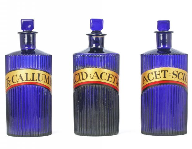 Blue Ribbed Antique Apothecary Jars