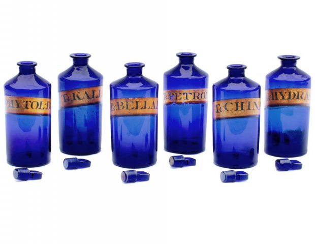 Antique Blue Glass Apothecary Jars