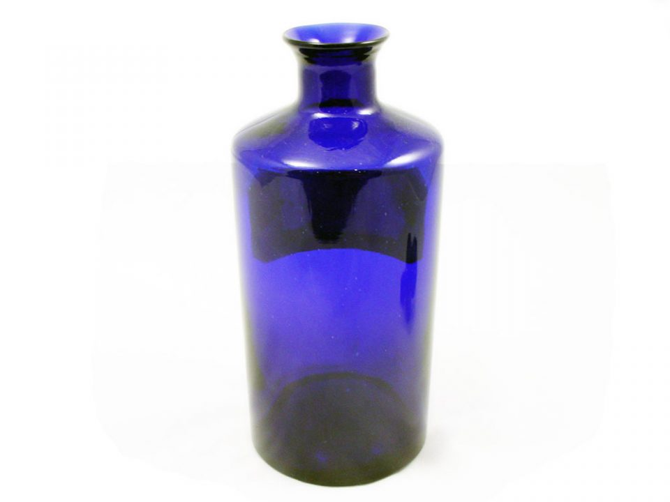 Blue Lug Apothecary Jar With Faceted Stopper Phisick