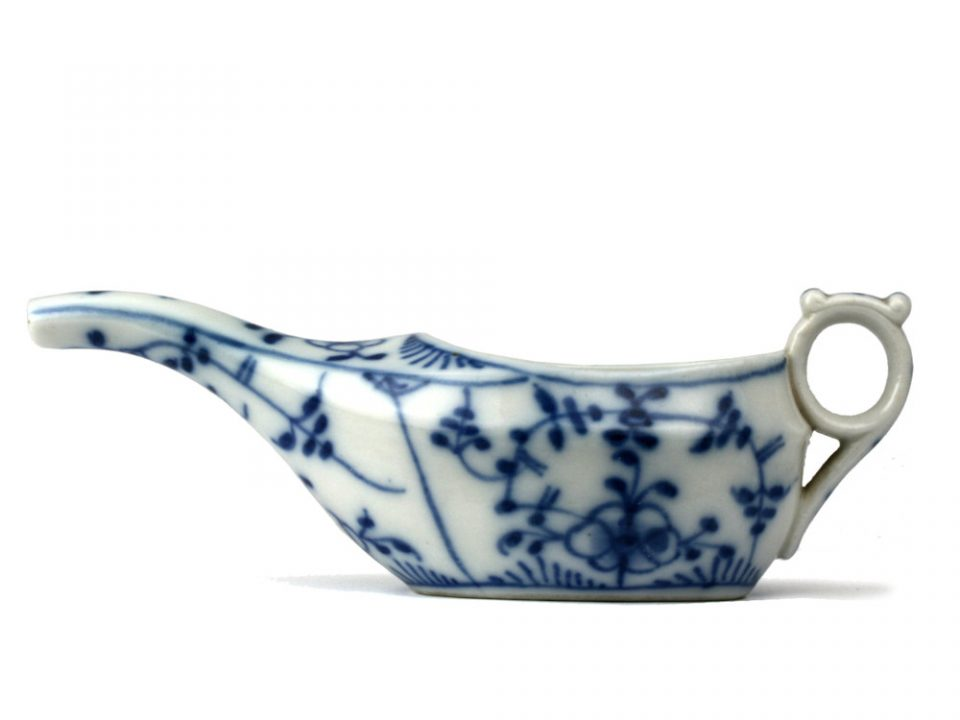 Antique Ceramic Pap Boat in Blue Onion Design