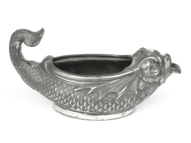 Antique Pewter Fish Pap Boat